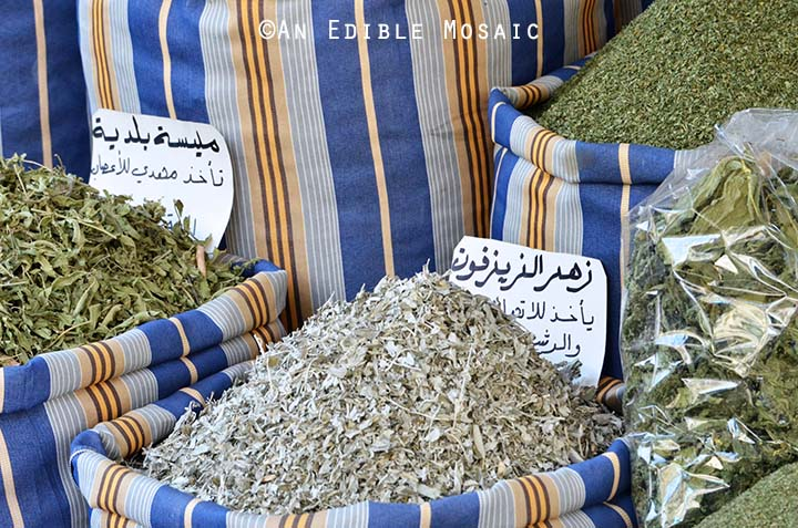Several Dried Herbs at Middle Eastern Spice Market in Syria