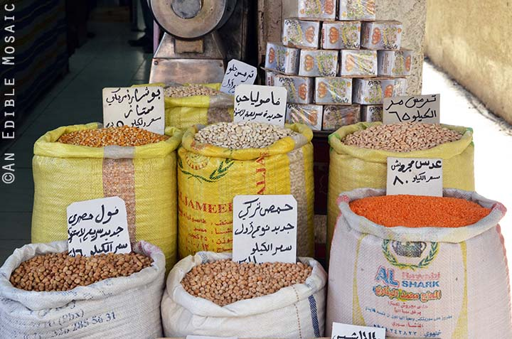 Sacks of Dried Foods at Middle Eastern Spice Market in Syria
