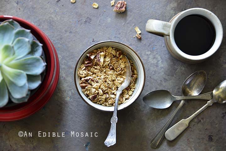 Close Up of Spiced Maple Pecan Muesli Granola
