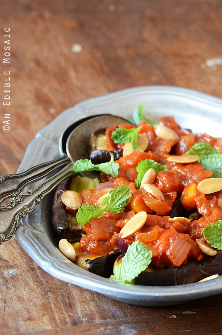 Eggplant with Tomato Compote, Toasted Almonds, and Fresh Mint