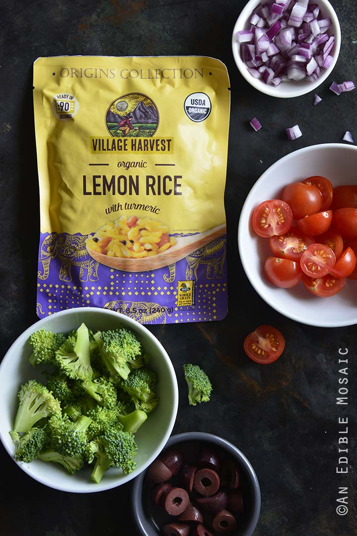 Ingredients for Cold Italian-Inspired Broccoli and Rice Salad