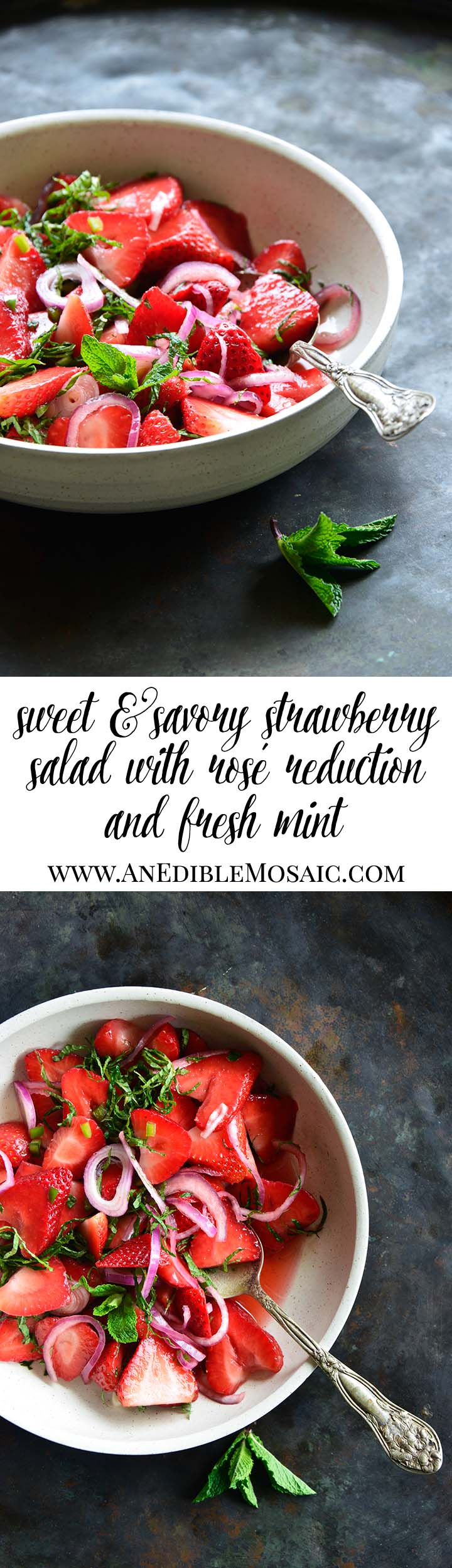 Sweet and Savory Strawberry Salad with Rosé Reduction and Fresh Mint Long Pin
