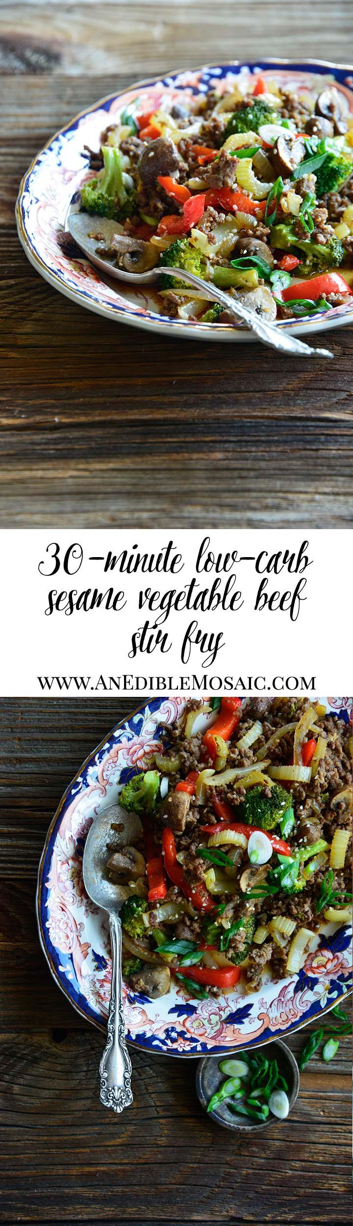 30-Minute Low-Carb Sesame Vegetable Beef Stir Fry Long Pin