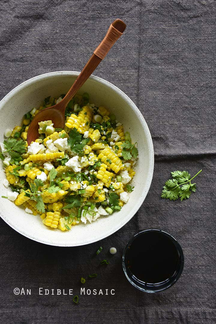 Top View of Mexican-Inspired Warm Garlic Butter Corn Salad with Cotija