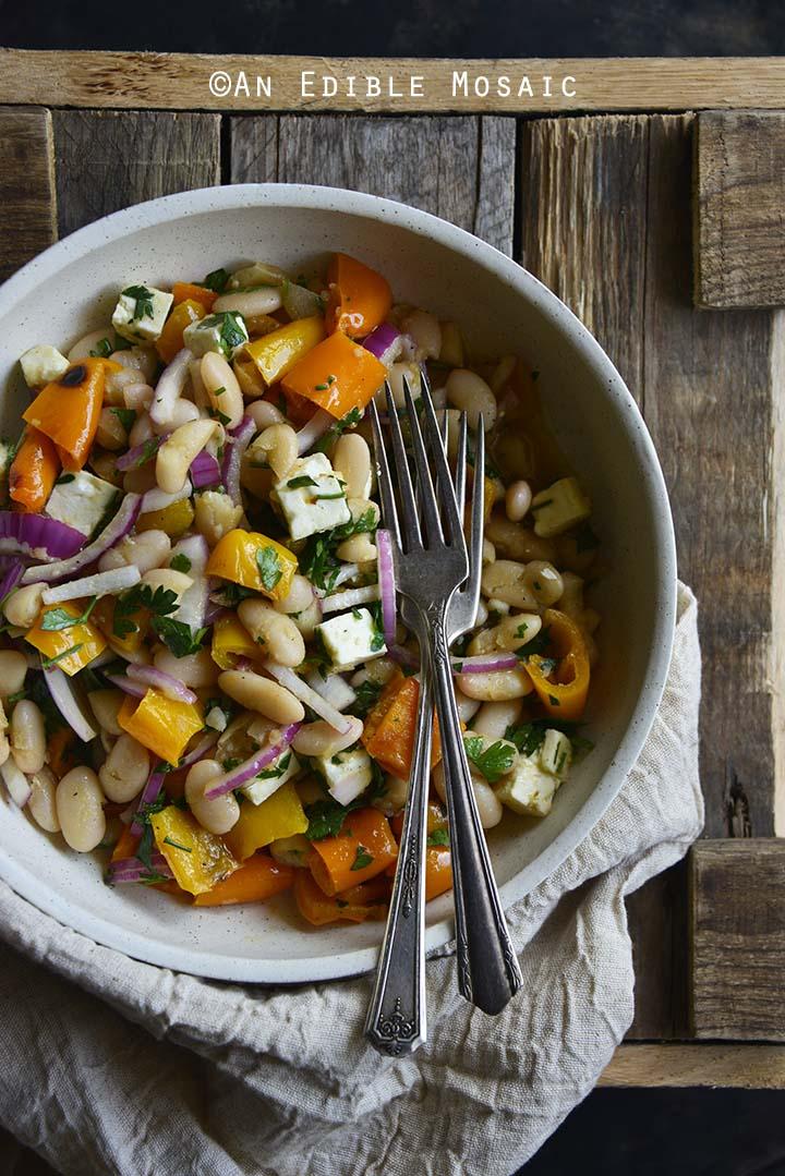 White Bean Roasted Bell Pepper Salad with Maple Dijon Vinaigrette #Recipe