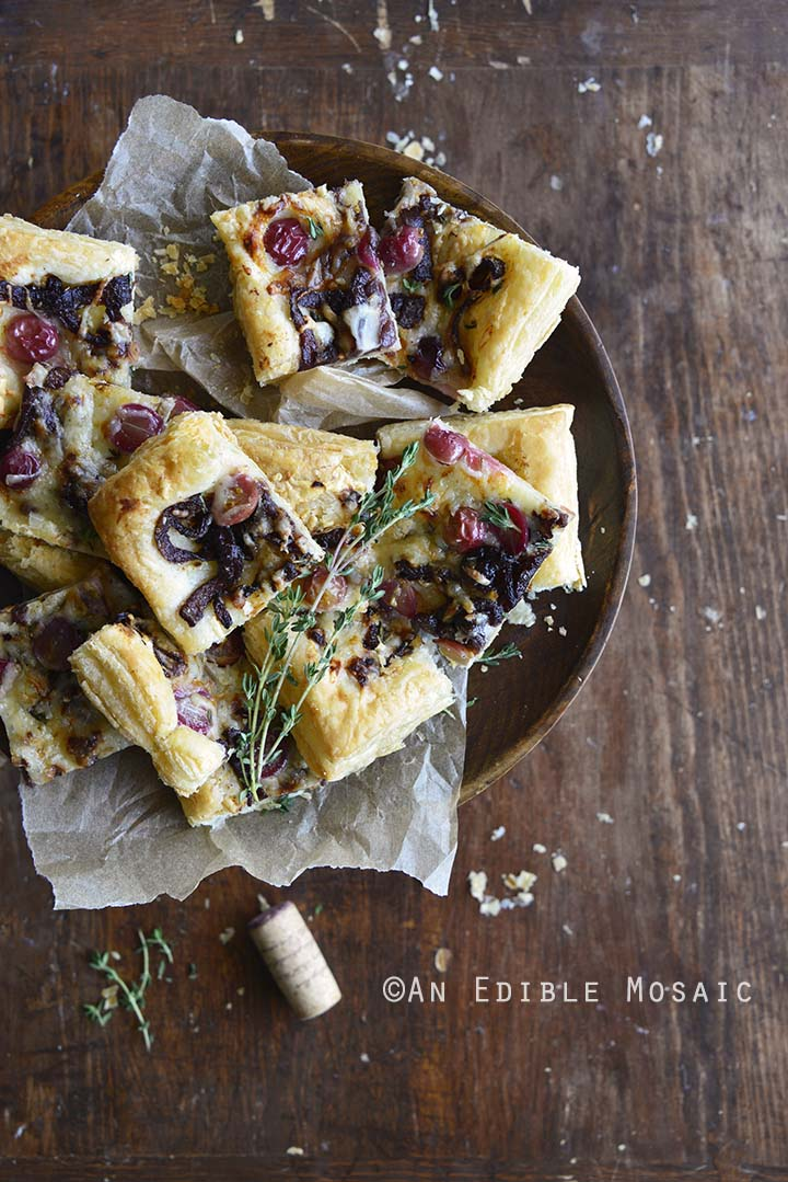 Easy Manchego, Grape, and Thyme Flatbread with Red Wine Caramelized Onions Ready for Serving