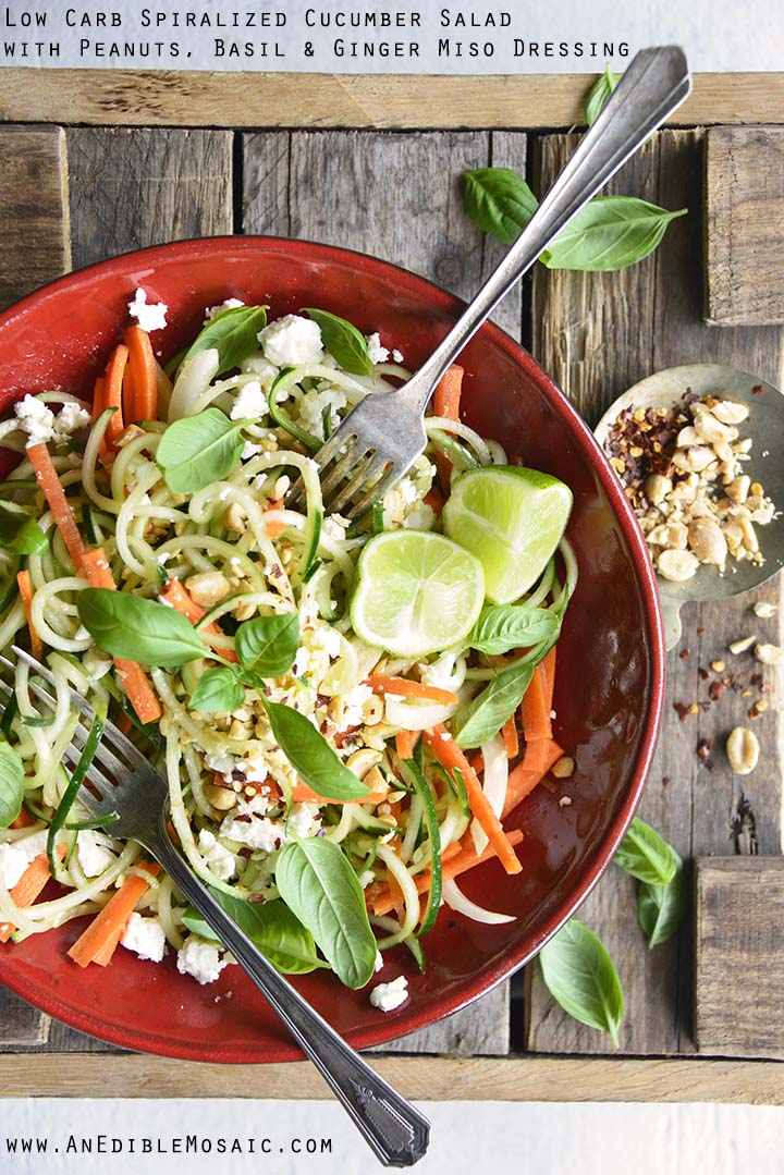 Low Carb Spiralized Cucumber Salad with Peanuts, Basil, and Ginger Miso Dressing with Description