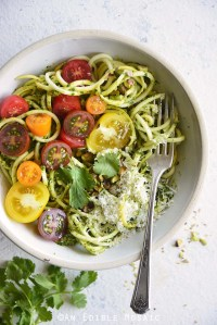 Low Carb Spiralized Yellow Squash Noodles with Tomatoes, Pesto, and Parmesan Close Up