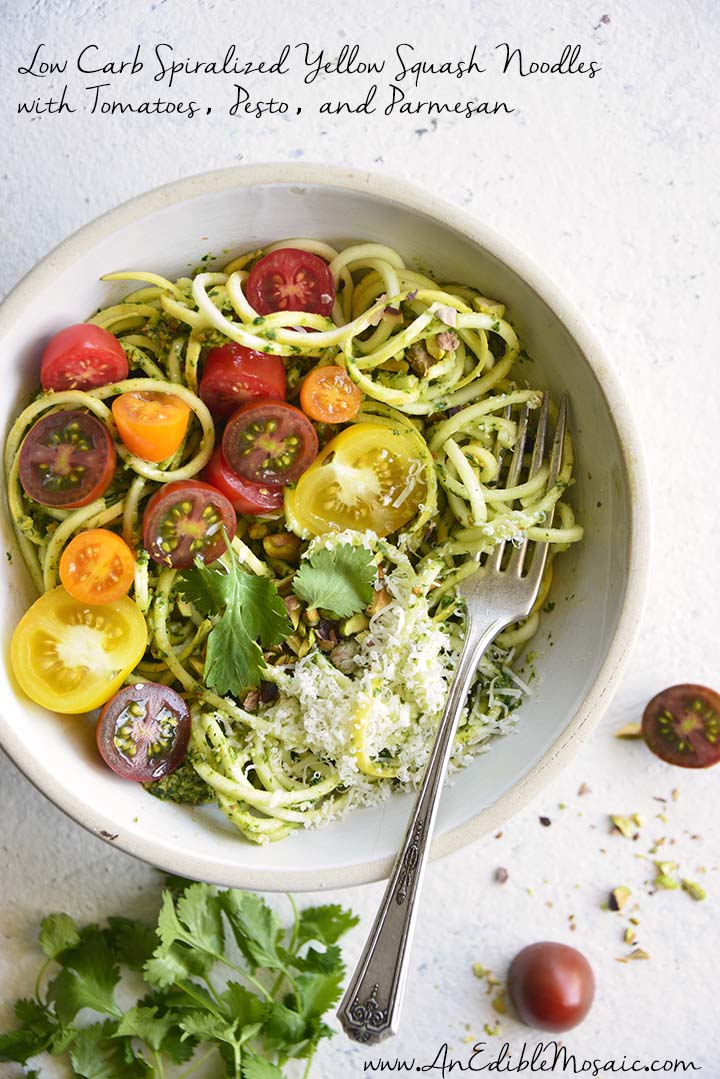 Low Carb Spiralized Yellow Squash Noodles with Tomatoes, Pesto, and Parmesan with Description