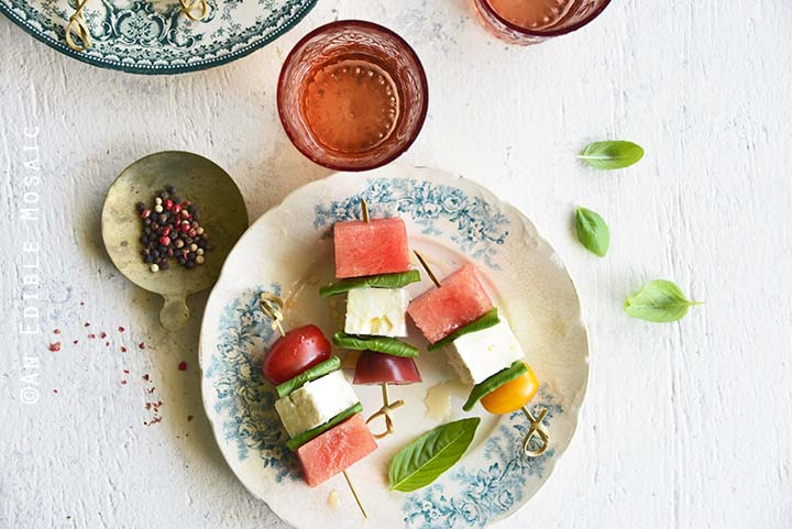 Watermelon Salad Skewers with Tomato, Basil, and Feta Close Up