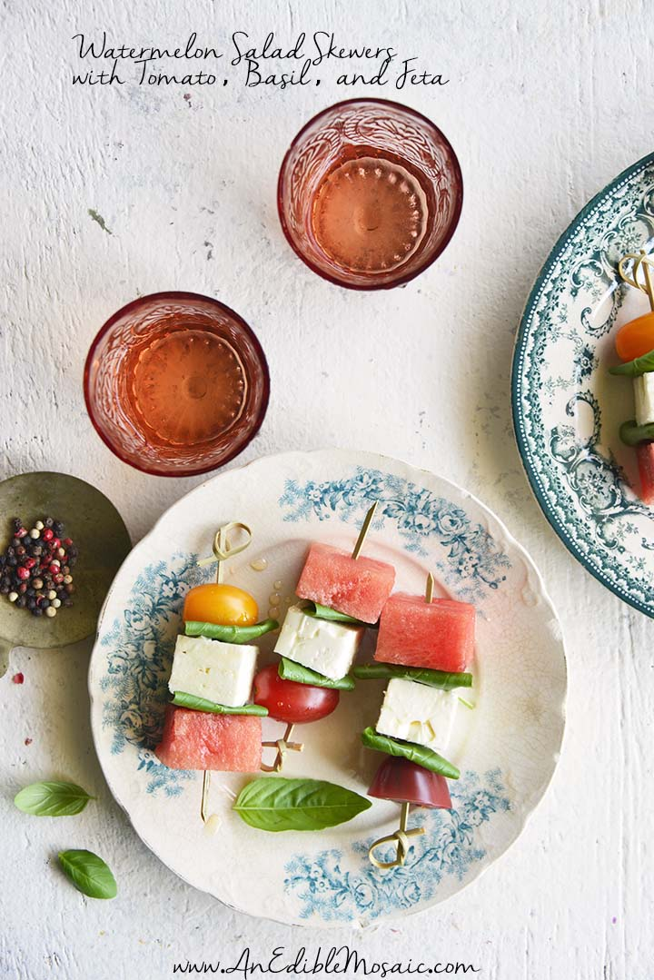Watermelon Salad Skewers with Tomato, Basil, and Feta with Description