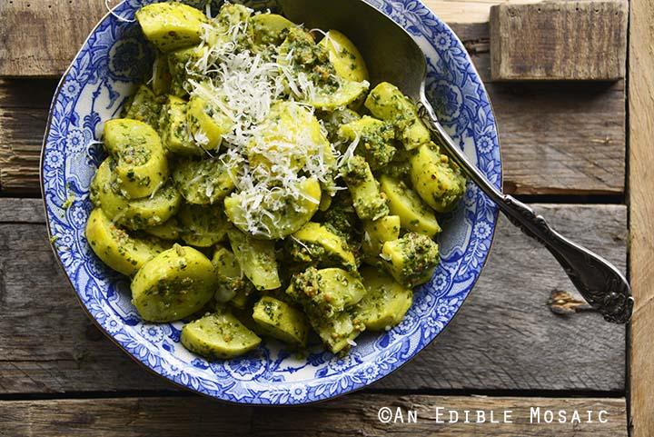 Close Up of Basil Pesto Summer Squash Sauté (Easy Summer Side Dish Recipe)
