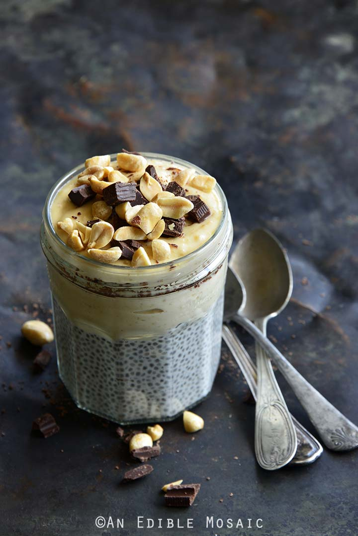Front View of Chocolate Peanut Butter Chia Pudding (Tastes Like Healthy Peanut Butter Pie!)