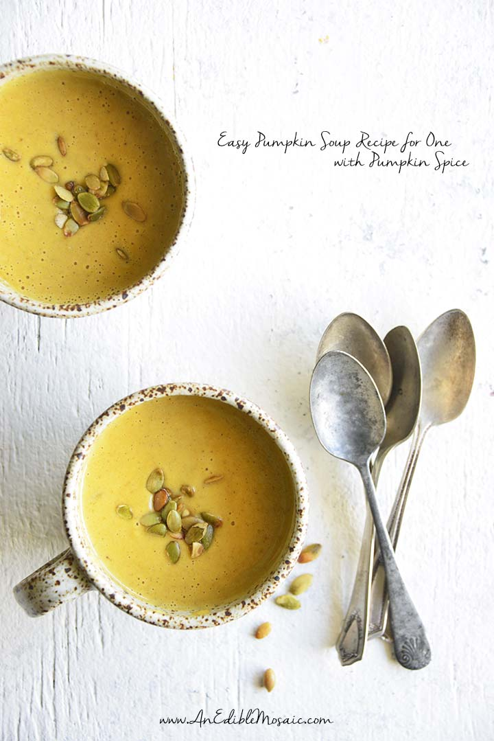 This Easy Pumpkin Soup Recipe for One with Pumpkin Spice is rich and creamy with complex savory flavor, and comes together in just 20 minutes!