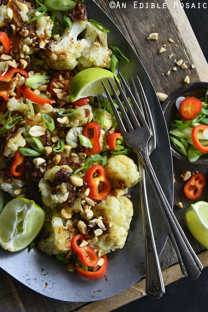 Close Up of Gluten Free Pad Thai Cauliflower Side Dish