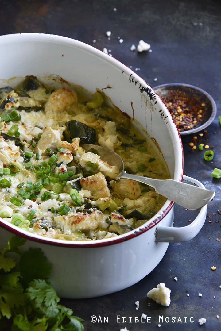 Low Carb Cheesy Chicken Casserole with Poblano Peppers Recipe