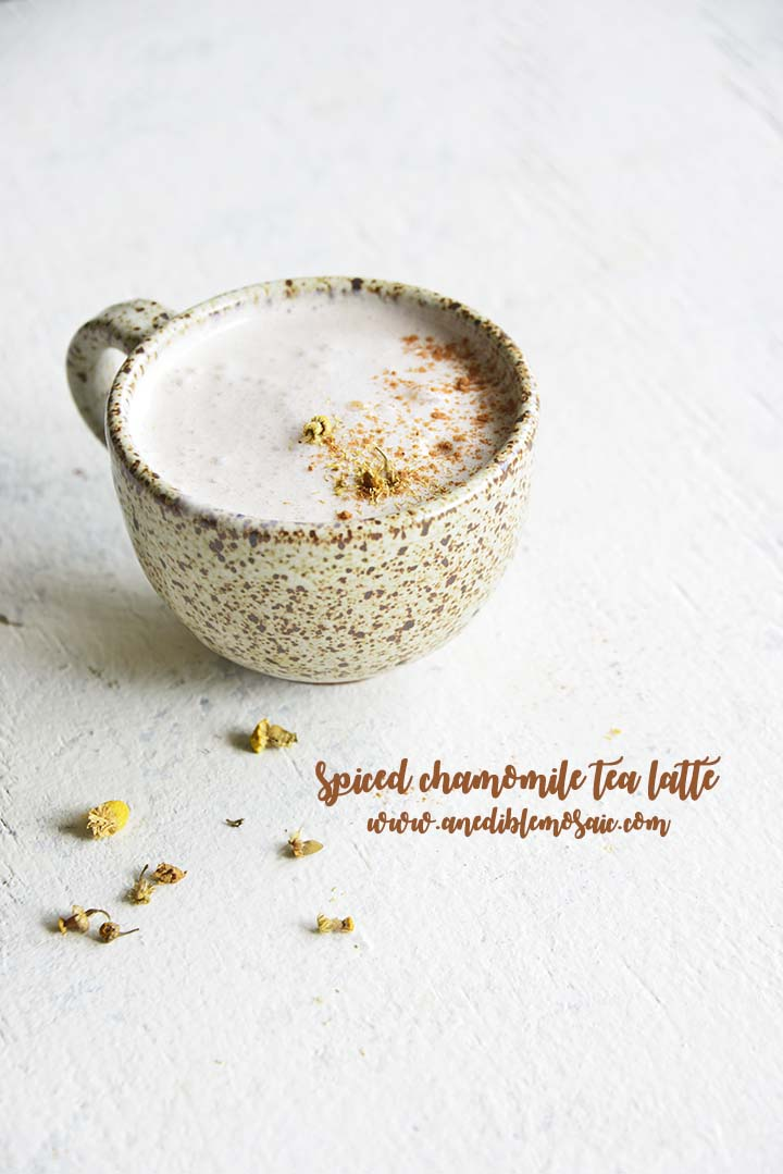 Enjoy this naturally caffeine-free Spiced Chamomile Tea Latte Recipe as a relaxing hot beverage any time of day; it's as easy to make as steeping tea!
