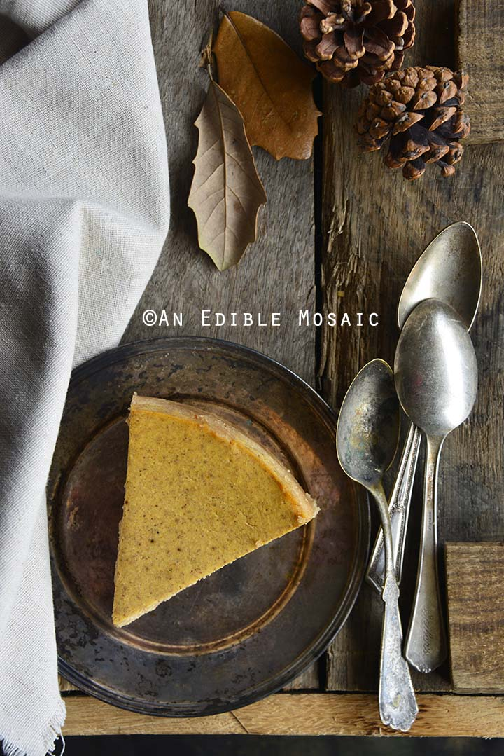 Slice of Low Carb Pumpkin Spice Cheesecake Recipe Overhead View