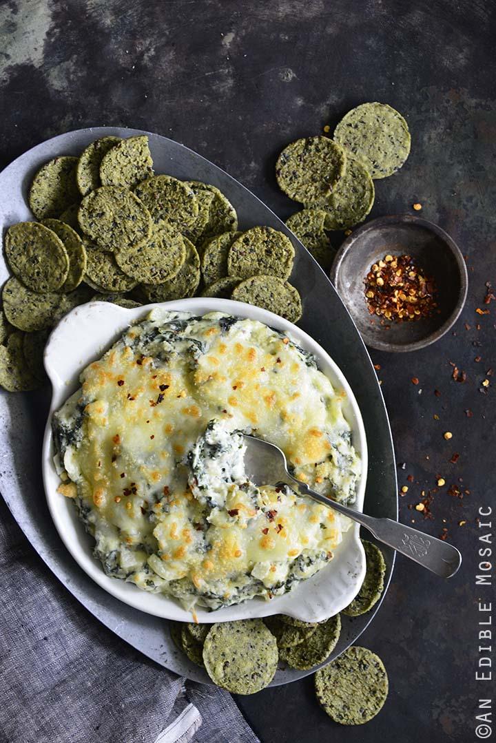 Warm Cheesy Garlic and Kale Dip