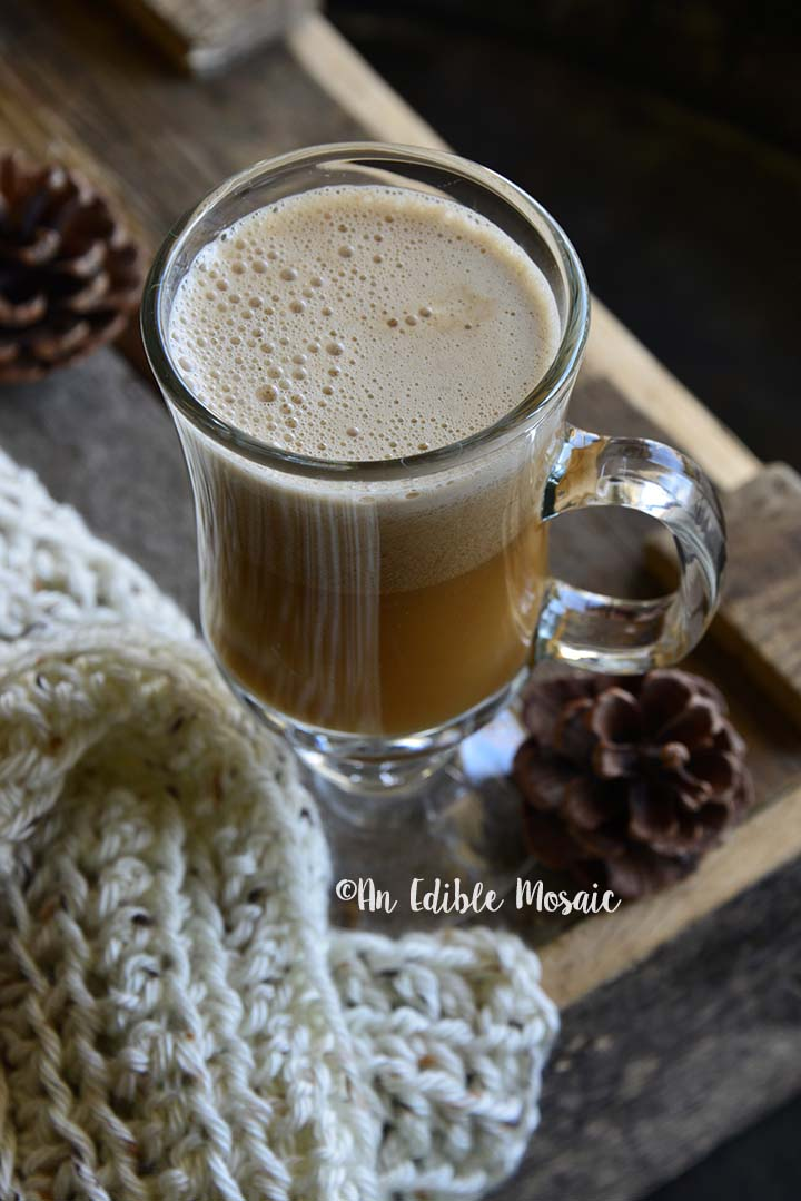 Close Up Front View of Hot Buttered Rum with Cozy Handmade Scarf