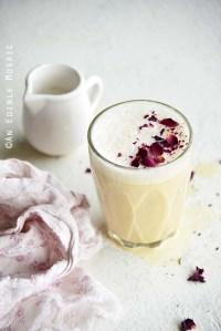 Rose Tea Latte with Vanilla Rooibos and Small Jug of Milk