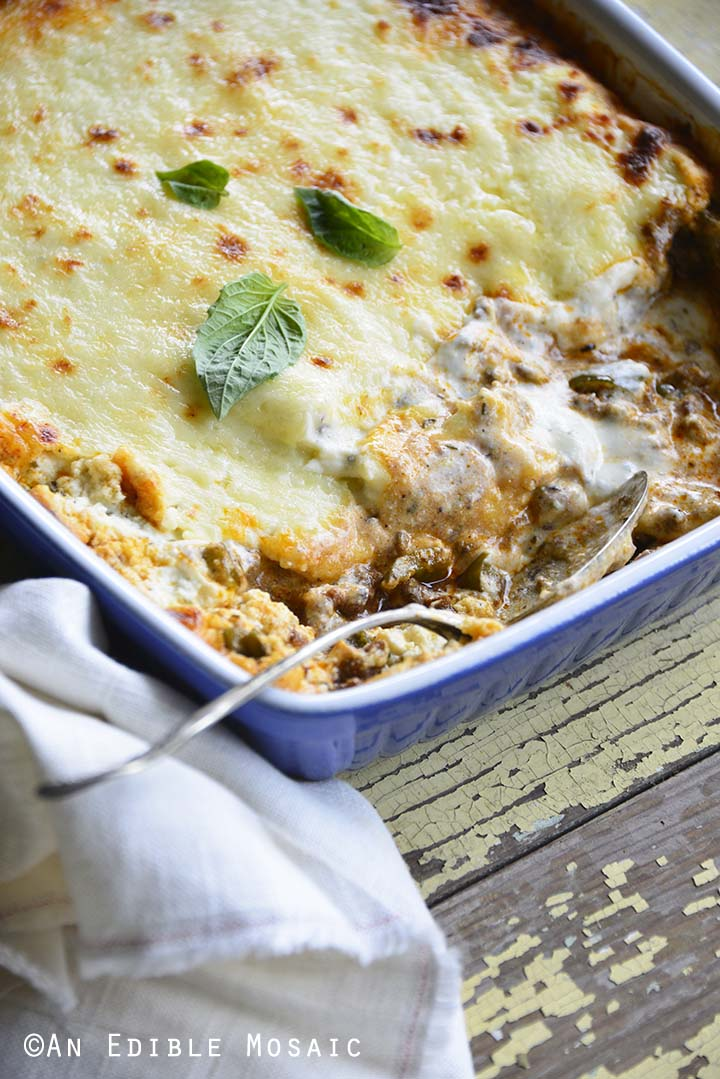 Close Up Melted Cheese View of Low Carb Noodle Free Lasagna Recipe in Casserole Dish