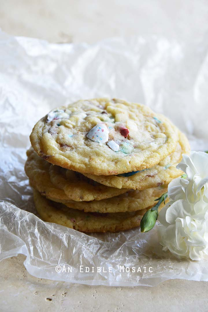 Easter Cookies with Robin Eggs Candy and Toasted Coconut with White Flowers