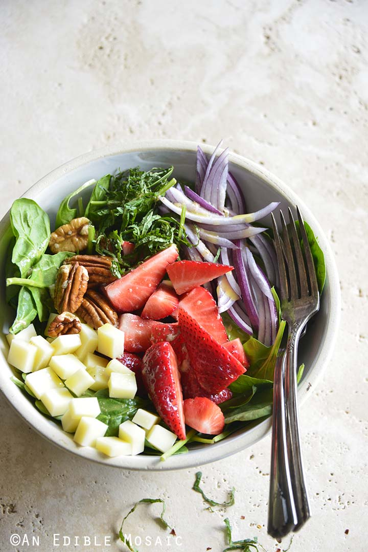 Front View of Spinach Strawberry Salad