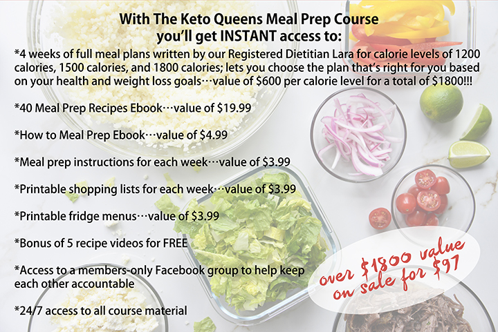 The Keto Queens Meal Prep Course with Value Listed