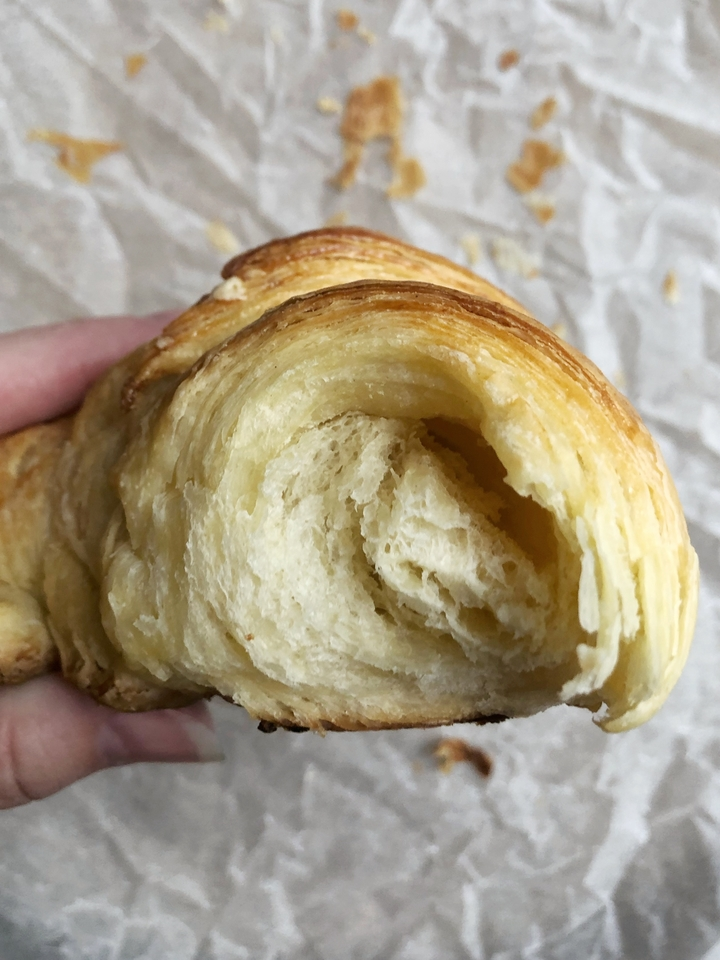 Inside of a Croissant Naturel on Parchment Paper
