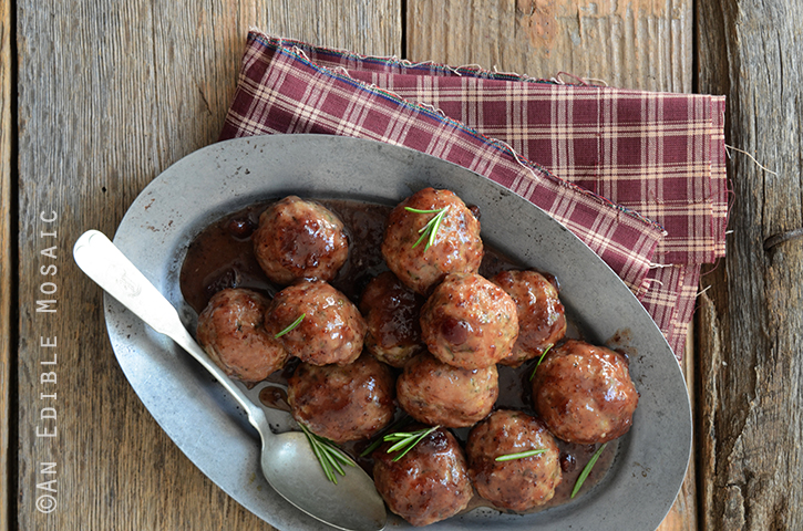 Herbed Roquefort-Stuffed Turkey Meatballs with Cranberry ...