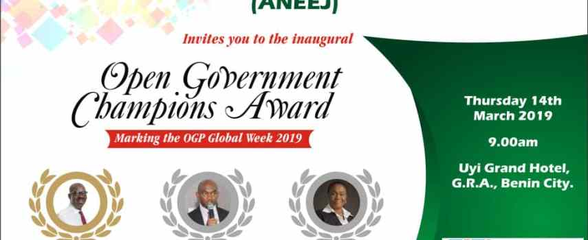 ANEEJ TO HONOUR GOVERNOR GODWIN OBASEKI, OTHERS WITH OPEN GOVERNMENT CHAMPIONS AWARD