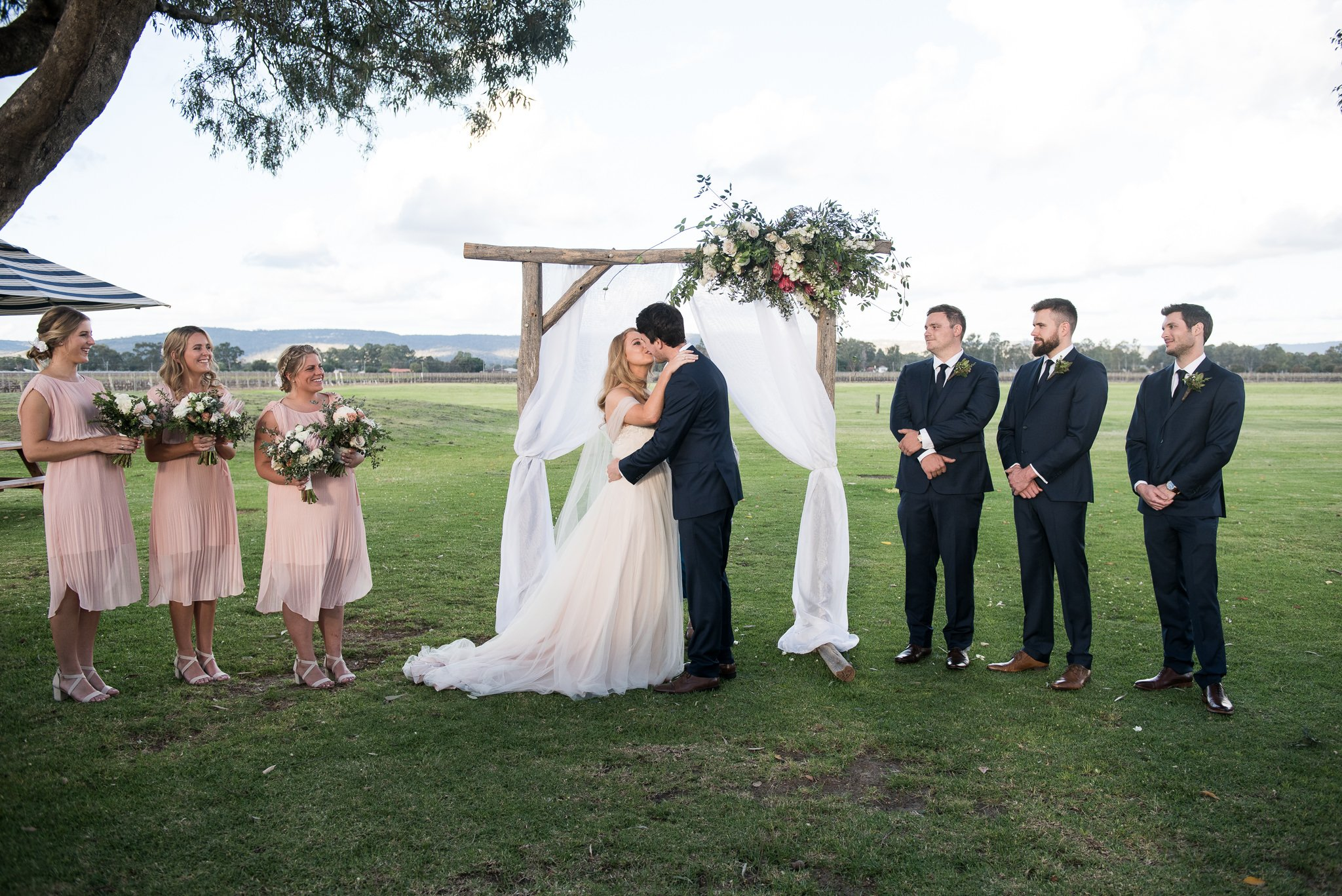 first kiss during wedding ceremony