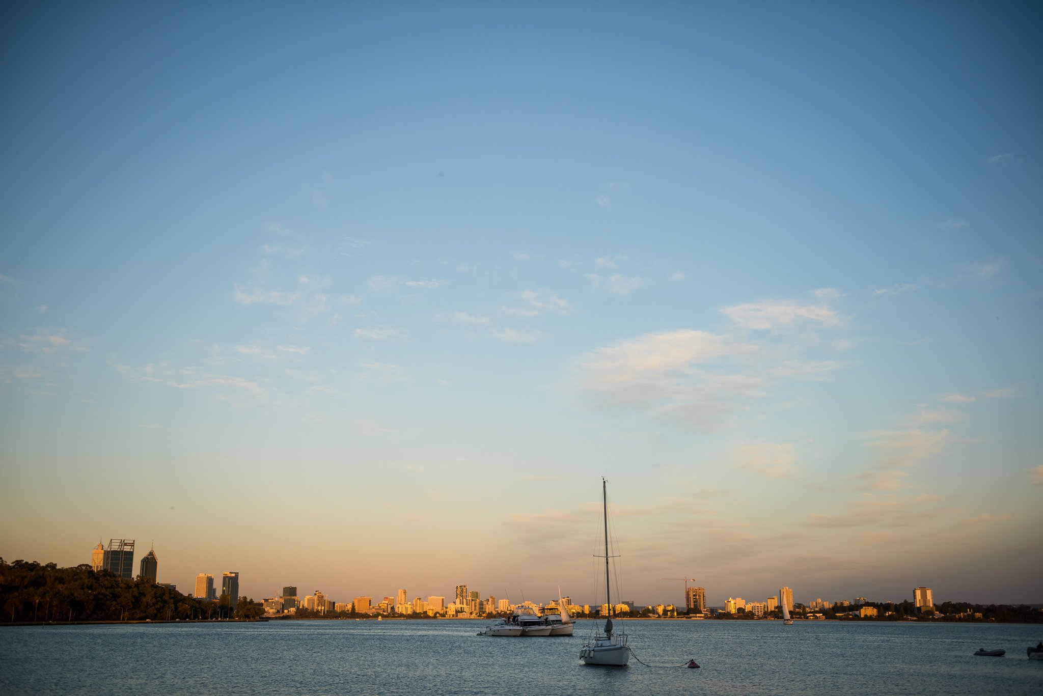 sunset over Perth from Matilda Bay