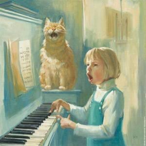 Кот поет песни вместе с девочкой
