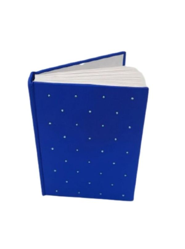 Rich Royal Blue - Handmade Blue Leather Diary With Crystals