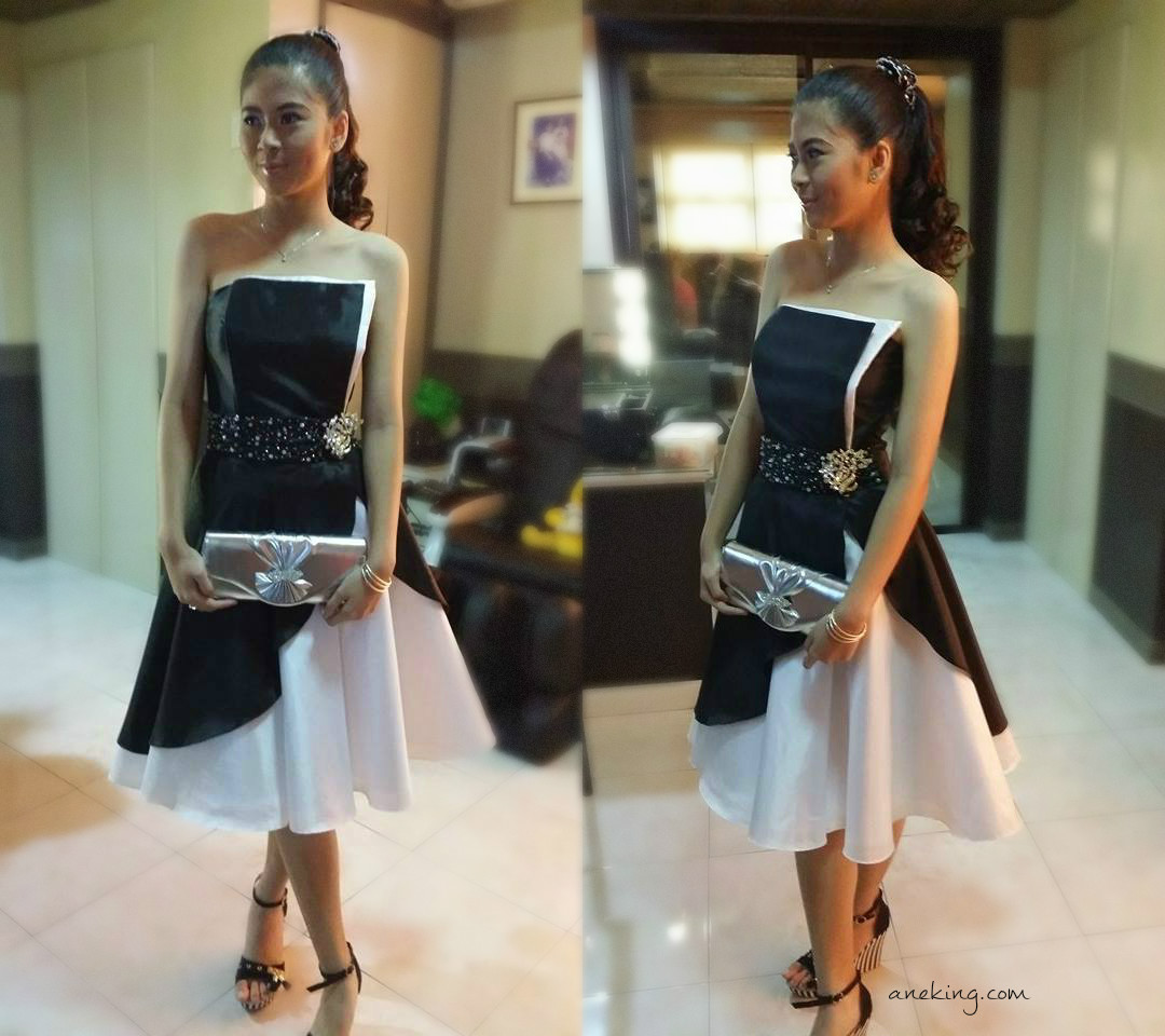 details for new authentic fashionable and attractive package Gown Ideas: Contemporary Strapless Black And White Satin ...