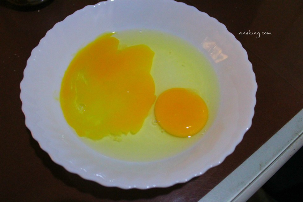 6. Open an egg or two in a bowl.