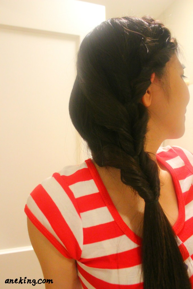 8.2. Once you're done, you can now enjoy your one-sided continuous inverse ponytail.