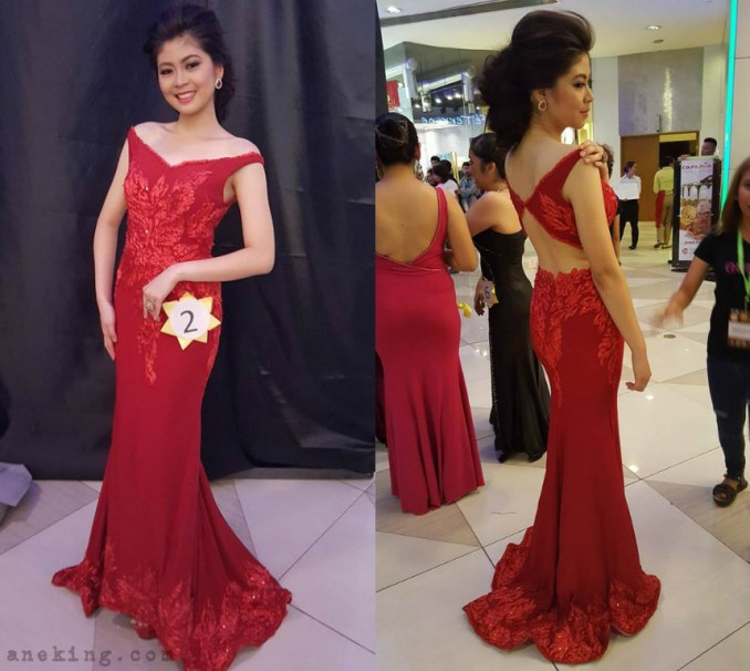 front and back detail of Nat Manilag red gown