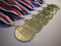 Close-up of Indie Book Award medals.