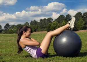 woman on yoga ball