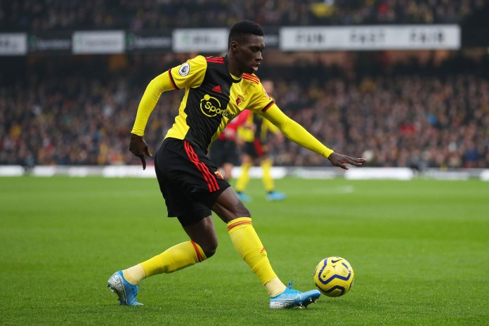 WATFORD, ENGLAND - JANUARY 01: Ismaila Sarr of Watford during the Premier League match between Watford FC and Wolverhampton Wanderers at Vicarage Road on January 01, 2020 in Watford, United Kingdom.
