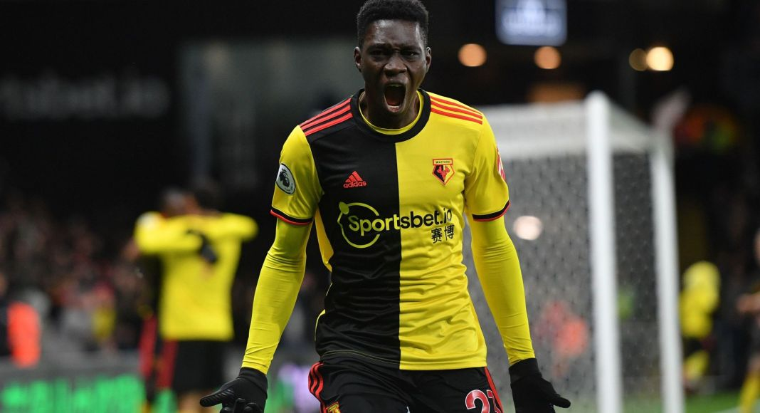 WATFORD, ENGLAND - DECEMBER 28: Ismaila Sarr of Watford celebrates after scoring his sides third goal during the Premier League match between Watford FC and Aston Villa at Vicarage Road on December 28, 2019 in Watford, United Kingdom.