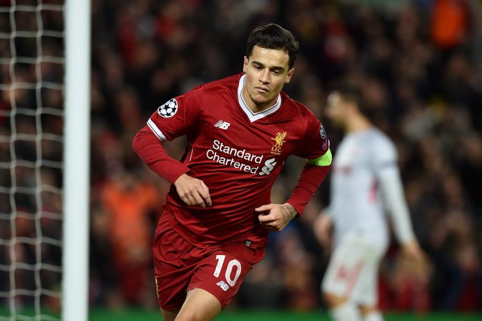LIVERPOOL, ENGLAND - DECEMBER 06: (THE SUN OUT, THE SUN ON SUNDAY OUT) Philippe Coutinho of Liverpool celebrates after scoring a goal during the UEFA Champions League group E match between Liverpool FC and Spartak Moskva at Anfield on December 6, 2017 in Liverpool, United Kingdom.