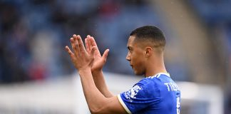LEICESTER, ENGLAND - MAY 23: Youri Tielemans of Leicester City gestures during the Premier League match between Leicester City and Tottenham Hotspur at The King Power Stadium on May 23, 2021 in Leicester, England. (Photo by Laurence Griffiths/Getty Images)