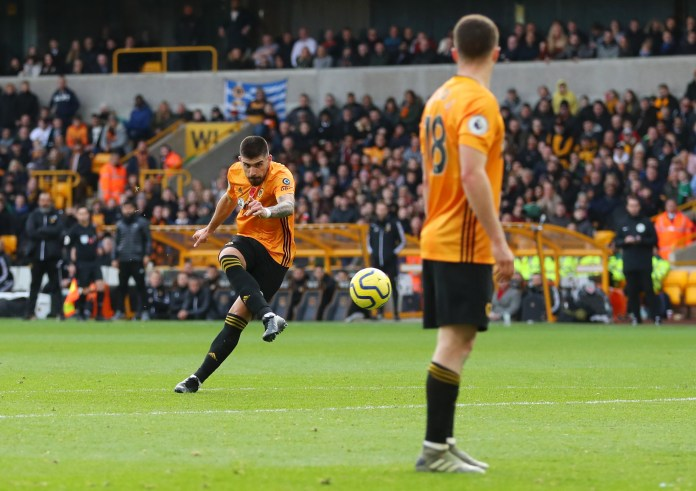 WOLVERHAMPTON, ENGLAND - NOVEMBER 10: Ruben Neves of Wolverhampton Wanderers scores his team's first goal during the Premier League match between Wolvess and Aston Villa at Molineux on November 10, 2019 in Wolverhampton, United Kingdom.
