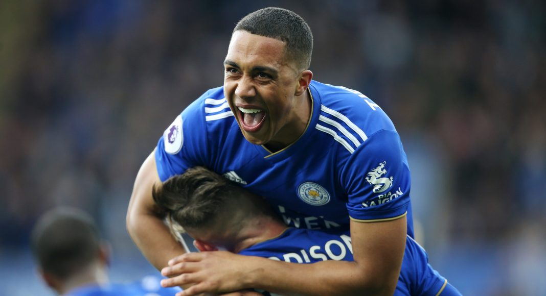 LEICESTER, ENGLAND - APRIL 28: Youri Tielemans of Leicester City celebrates with James Maddison of Leicester City after scoring to make it 1-0 during the Premier League match between Leicester City and Arsenal at The King Power Stadium on April 28, 2019 in Leicester, United Kingdom.