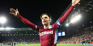WEST BROMWICH, ENGLAND - MAY 14: Jack Grealish of Aston Villa celebrates victory in the penalty shoot out after the Sky Bet Championship Play-off semi final second leg match between West Bromwich Albion and Aston Villa at The Hawthorns on May 14, 2019 in West Bromwich, England.