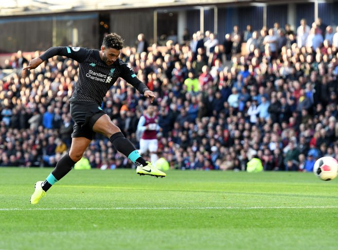 BURNLEY, ENGLAND - AUGUST 31: (THE SUN OUT, THE SUN ON SUNDAY OUT) Alex Oxlade-Chamberlain of Liverpool during the Premier League match between Burnley FC and Liverpool FC at Turf Moor on August 31, 2019 in Burnley, United Kingdom.
